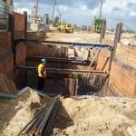עבודות דיפון ושאיבה לבניית יסודות לגשר – הפרדה מפלסית בעכו